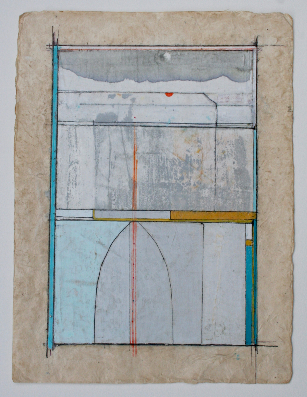 axis  mixed media on paper  12 x 9  sold  .  .