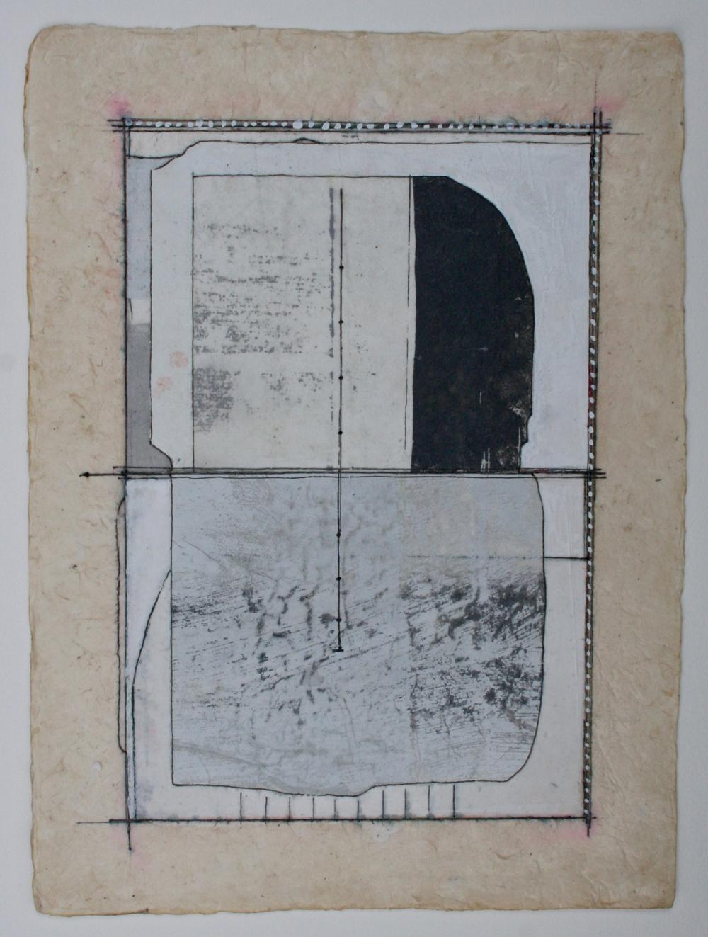 neutral poetics  mixed media on paper  12 x 9  .  .