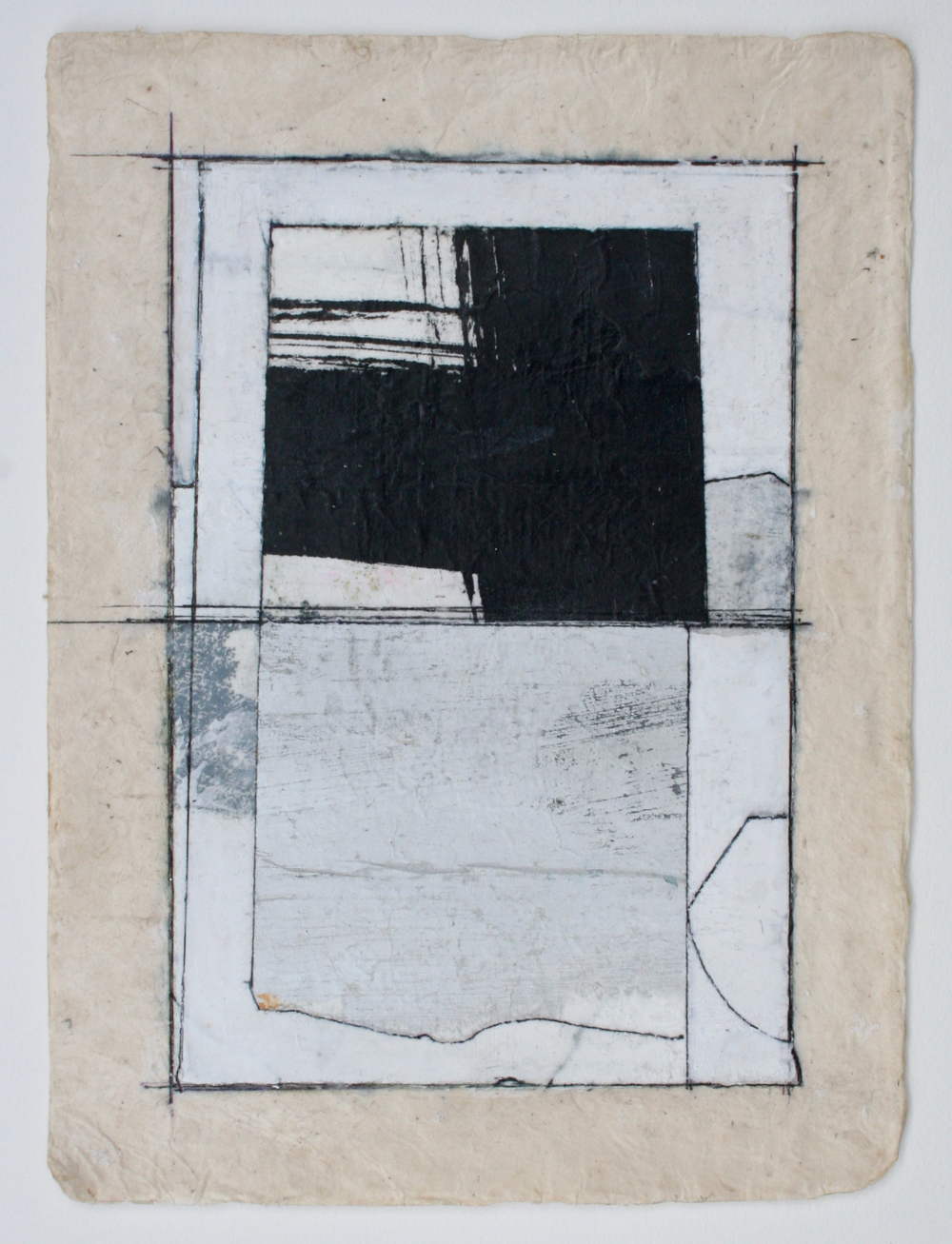 two windows  mixed media on paper  12 x 9  .  .