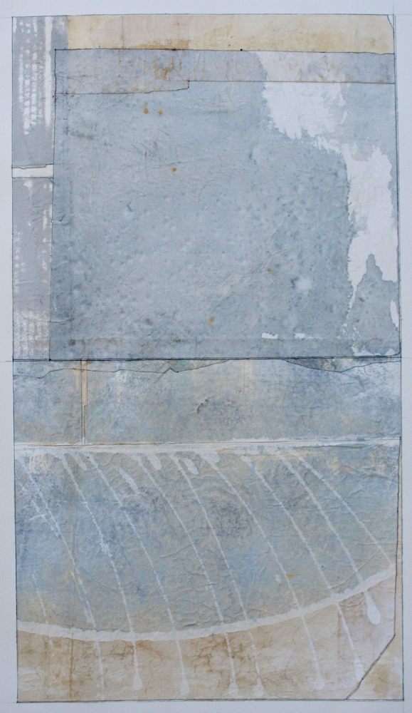 reed boat  mixed media on paper  40 x 26  .  .