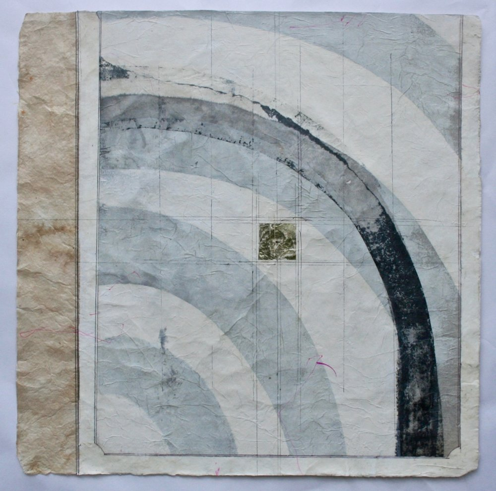 stupa II  26 x 26  mixed media on Bhutanese paper  sold  .  .  .