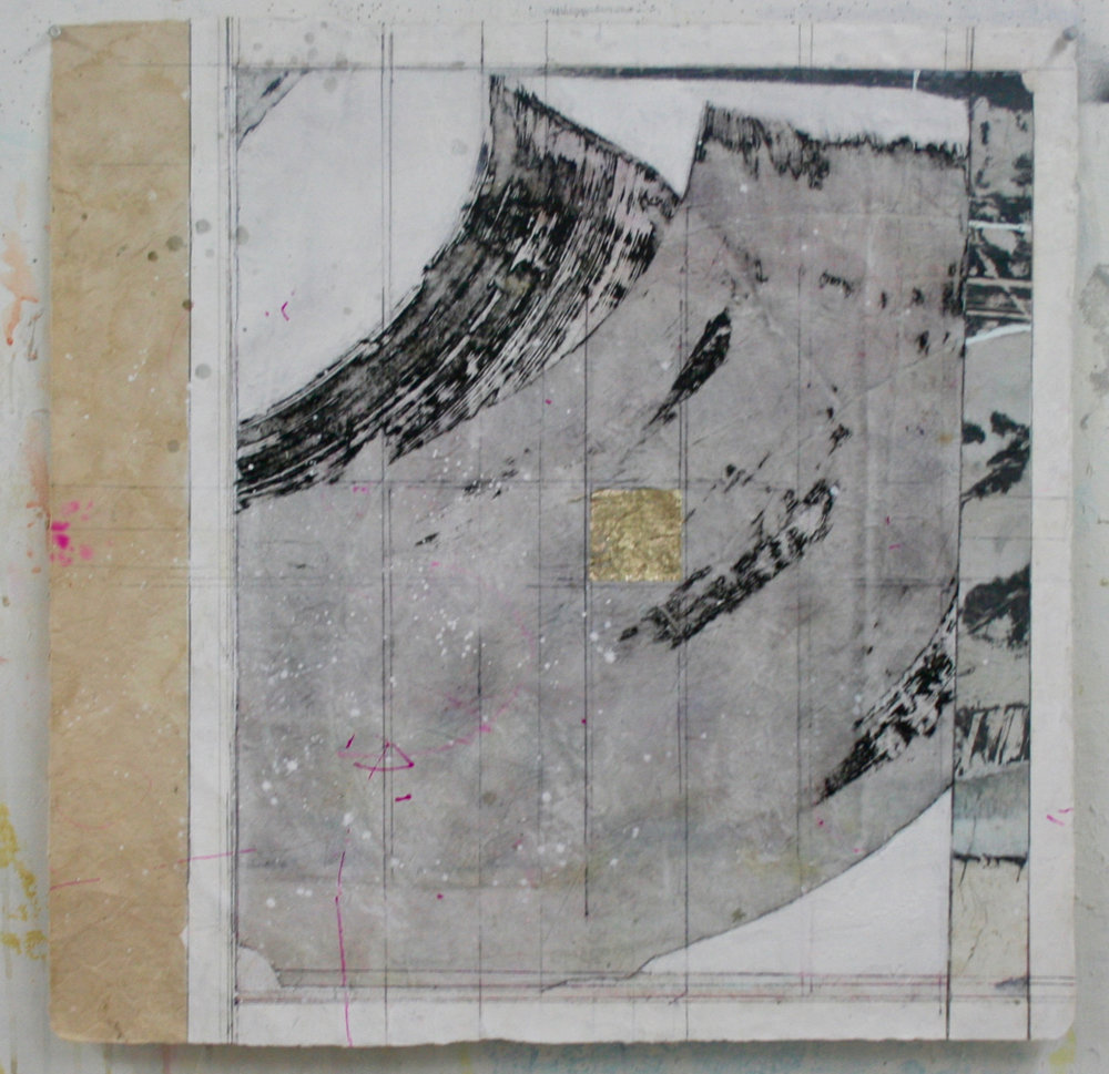stupa VII  26 x 26  mixed media on Bhutanese paper  .  .  .