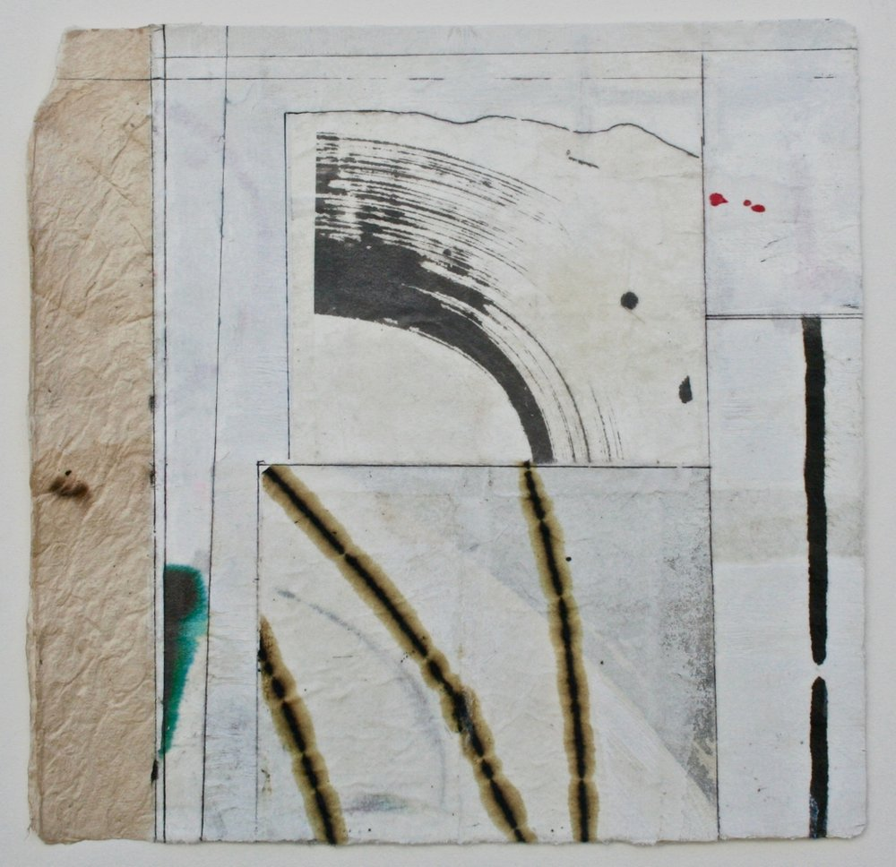 limb & wave  10 x 10  mixed media on Bhutanese paper  .  .  .