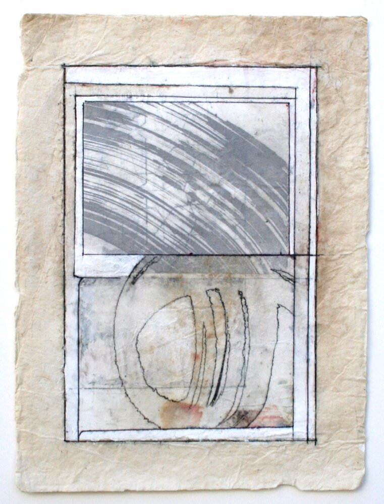wave & lines  mixed media on paper  12 x 9  .  .