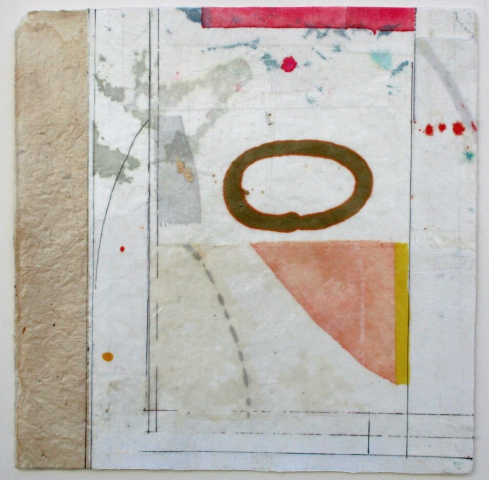 ovoid  10 x 10  mixed media on Bhutanese paper  .  .  .