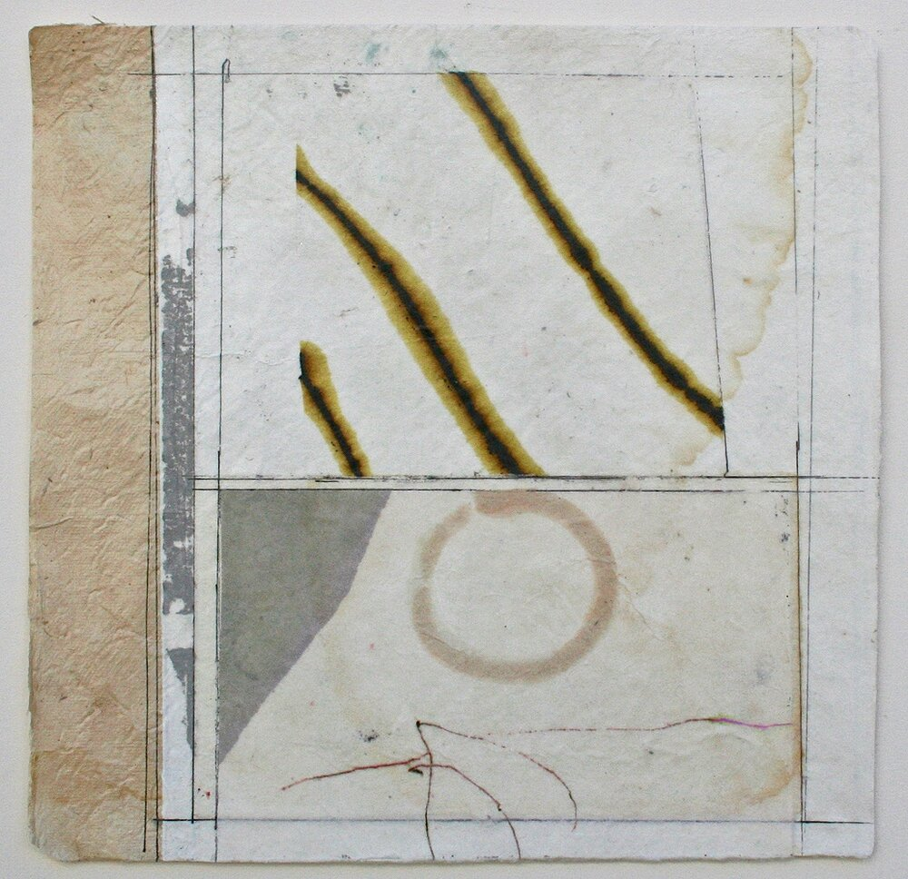 hoop rolling  10 x 10  mixed media on bhutanese paper  .  .  .
