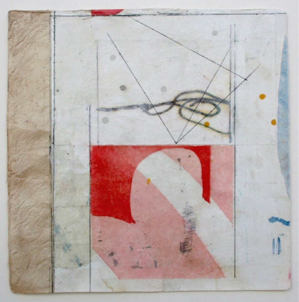 mystery arc  10 x 10  mixed media on Bhutanese paper  sold  .  .  .