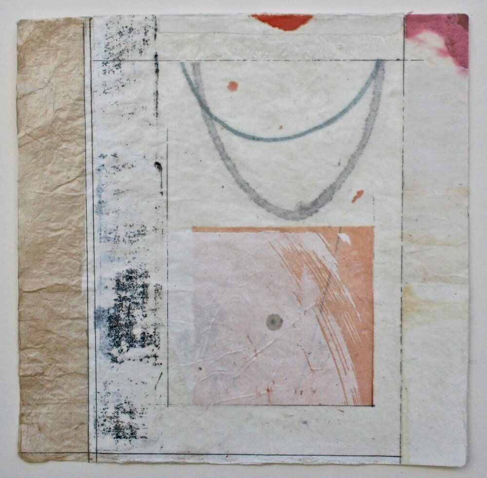 parabola  10 x 10  mixed media on Bhutanese paper  .  .  .