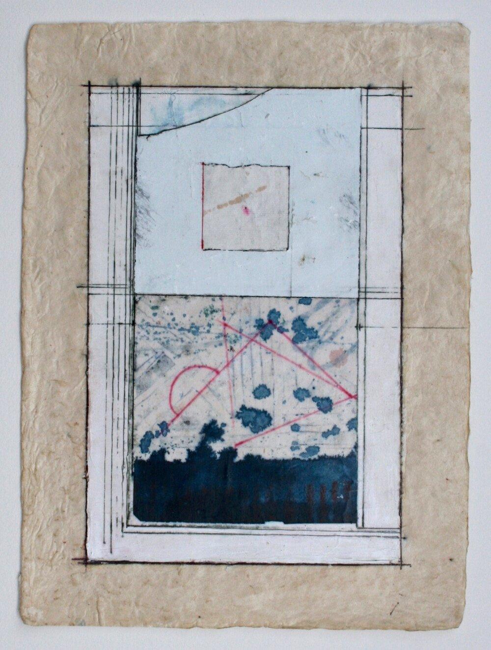 drishti  mixed media on paper  12 x 9  .  .