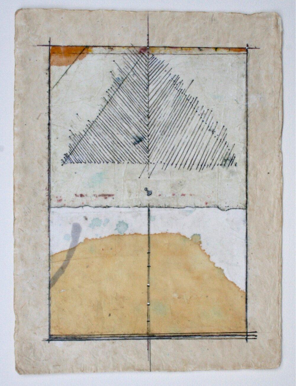 pyramid  mixed media on paper  12 x 9  .  .