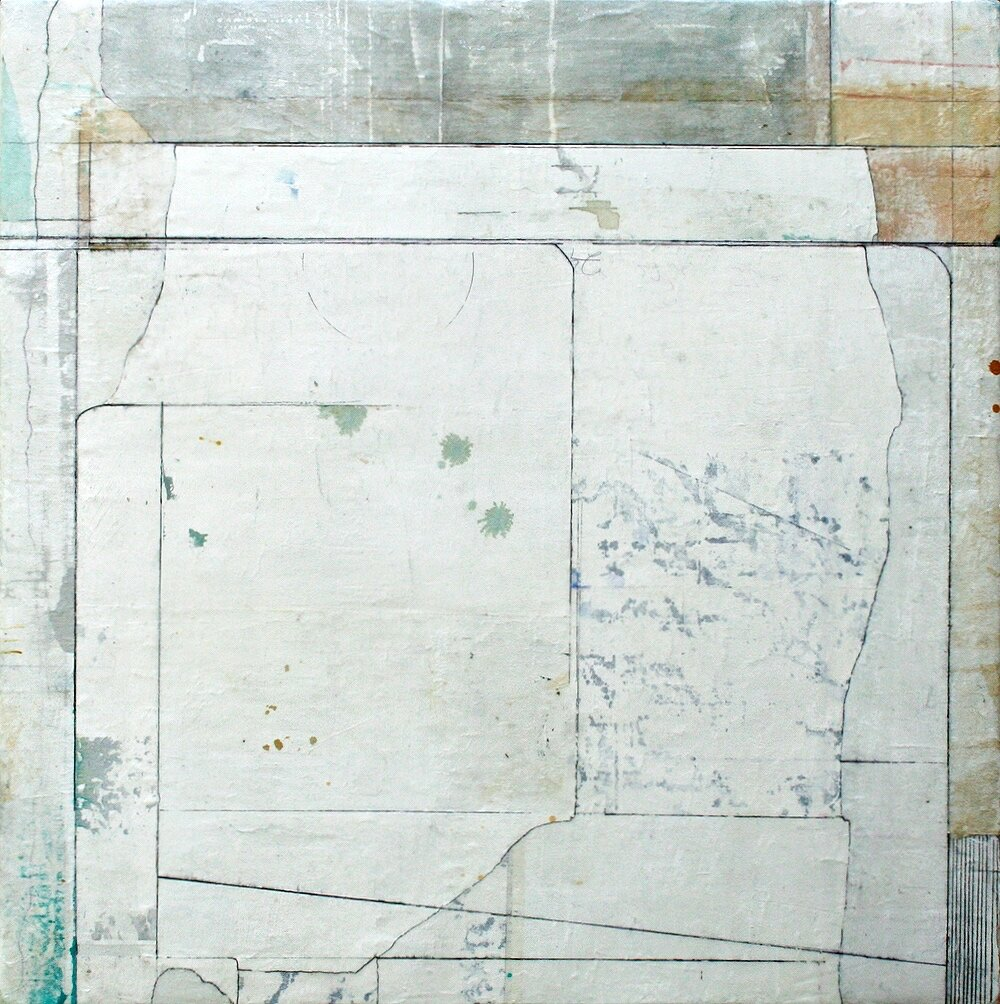 shared space  mixed media on panel  38 x 38  .  .