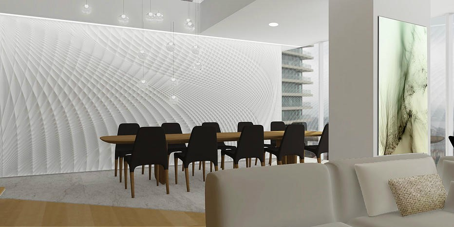 A sculpted feature wall:  CREDIT Field Studio & Arch 20