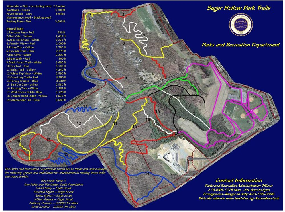 Trail Map is from 2013 so new trails and reroutes are not shown!