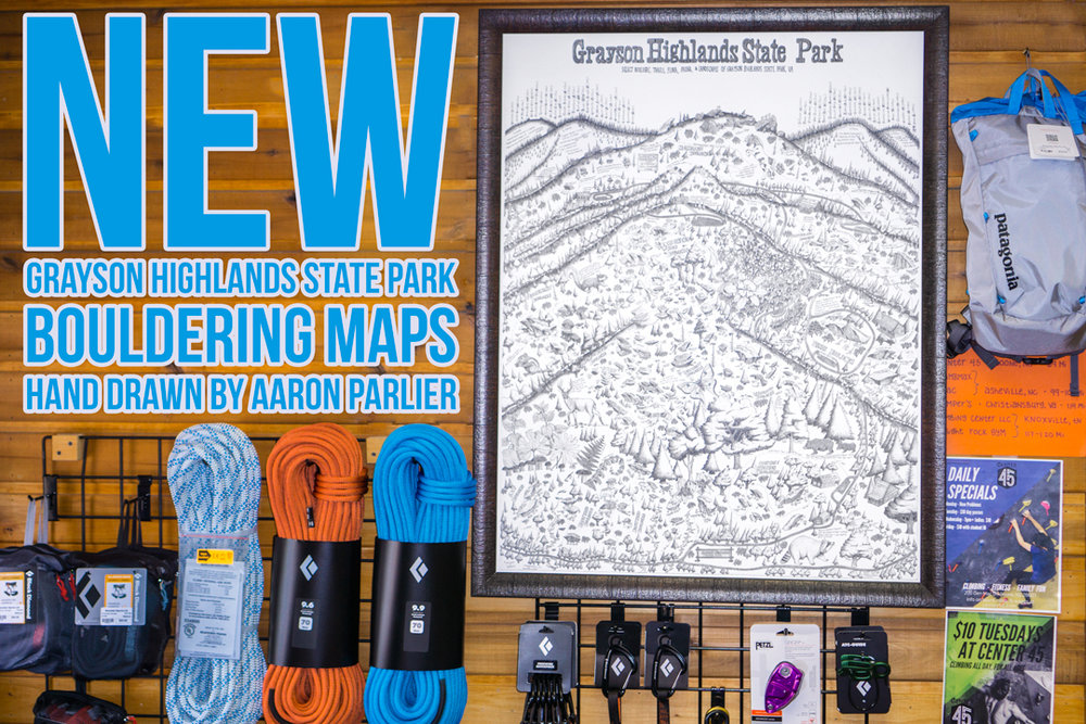 GHSP Bouldering Maps - Over 2 years in the making, Aaron Parlier drew this bouldering map of Grayson Highlands and it has over 500 boulder problems on it along with park trails and more. They are available at MSL or at Aaron's climbing gym in Boone, Center 45!