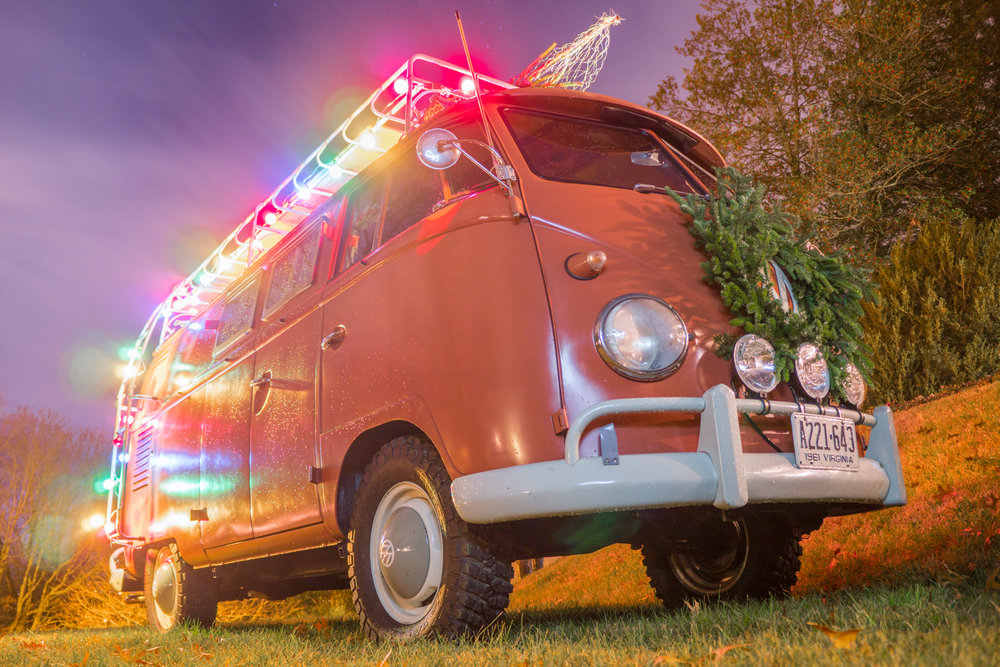 MSL Customer and Friend Todd Cooper's VW Van decked out for Christmas!