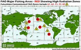 The red is the fishing grounds that are common and productive, the radiation markers are from Woods Hole where they have tested and found unhealthy levels of radiation.