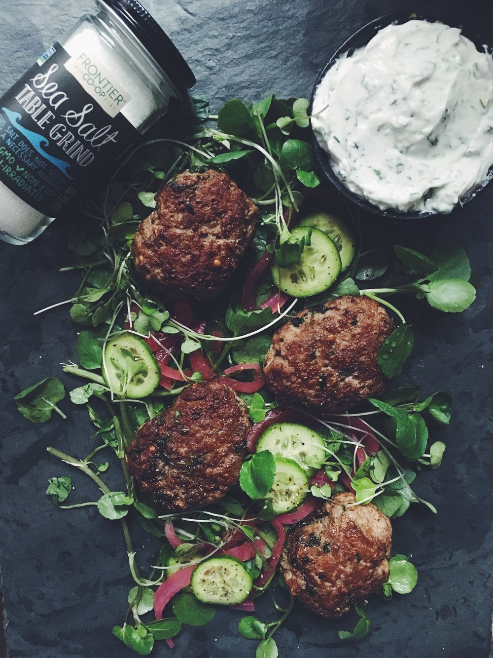 grilled mini lamb burgers + herb yogurt + Frontier Co-Op Sea Salt Table Grind