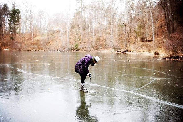 When your neighbor is so awesome that she purchases a huge drill bit so that she can make sure the ice is plenty thick for the boys (4 between the two of us) to play on the pond during their day off of school yesterday. #safetyfirst #myvillage #itsbeencold #getoutside