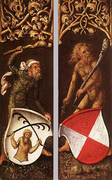 Wild men support coats of arms in the side panels of a portrait by  Albrecht Dürer  / Public Domain via  Wikimedia Commons