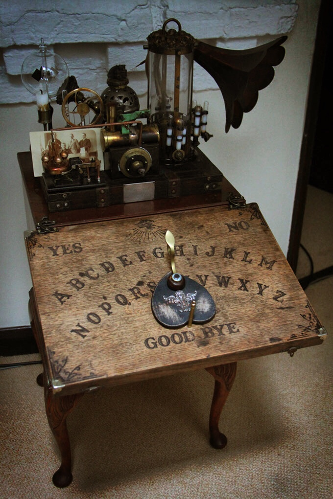 4f0ecdb3a29d Mounted on a Victorian chest of drawers and with a detachable Ouija board  this looks more like an occult switchboard to the spirit world.