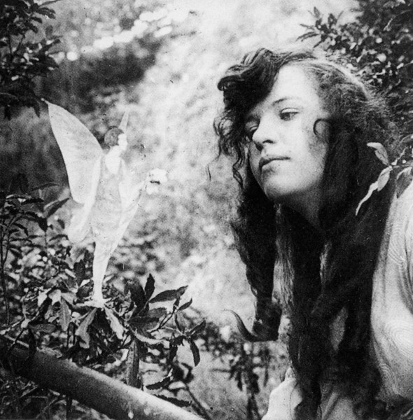 One of the pictures of the infamous Cottingley Fairies showing 15-year-old Elsie Wright.