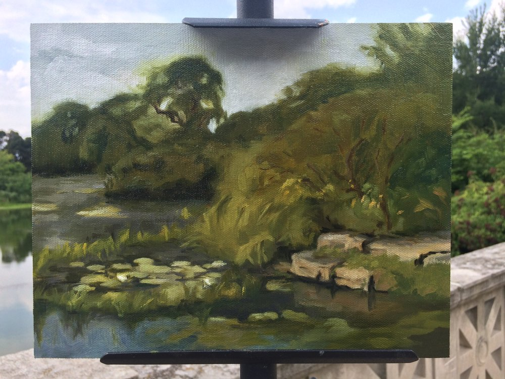 I found a pond!!! I painted here until I was visited by a mouse, well at least I'm calling it a mouse.