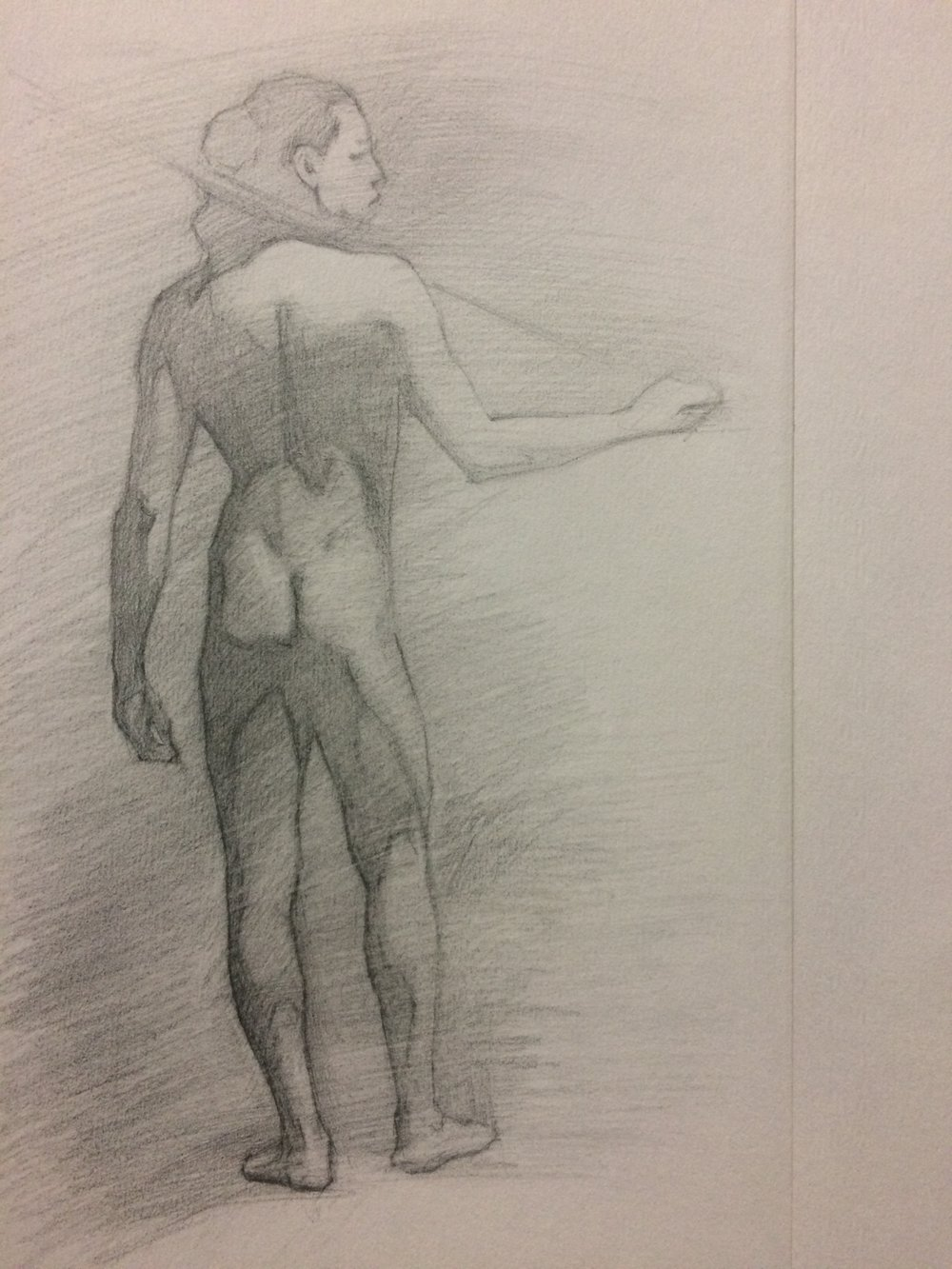 Pencil sketch of the last long pose