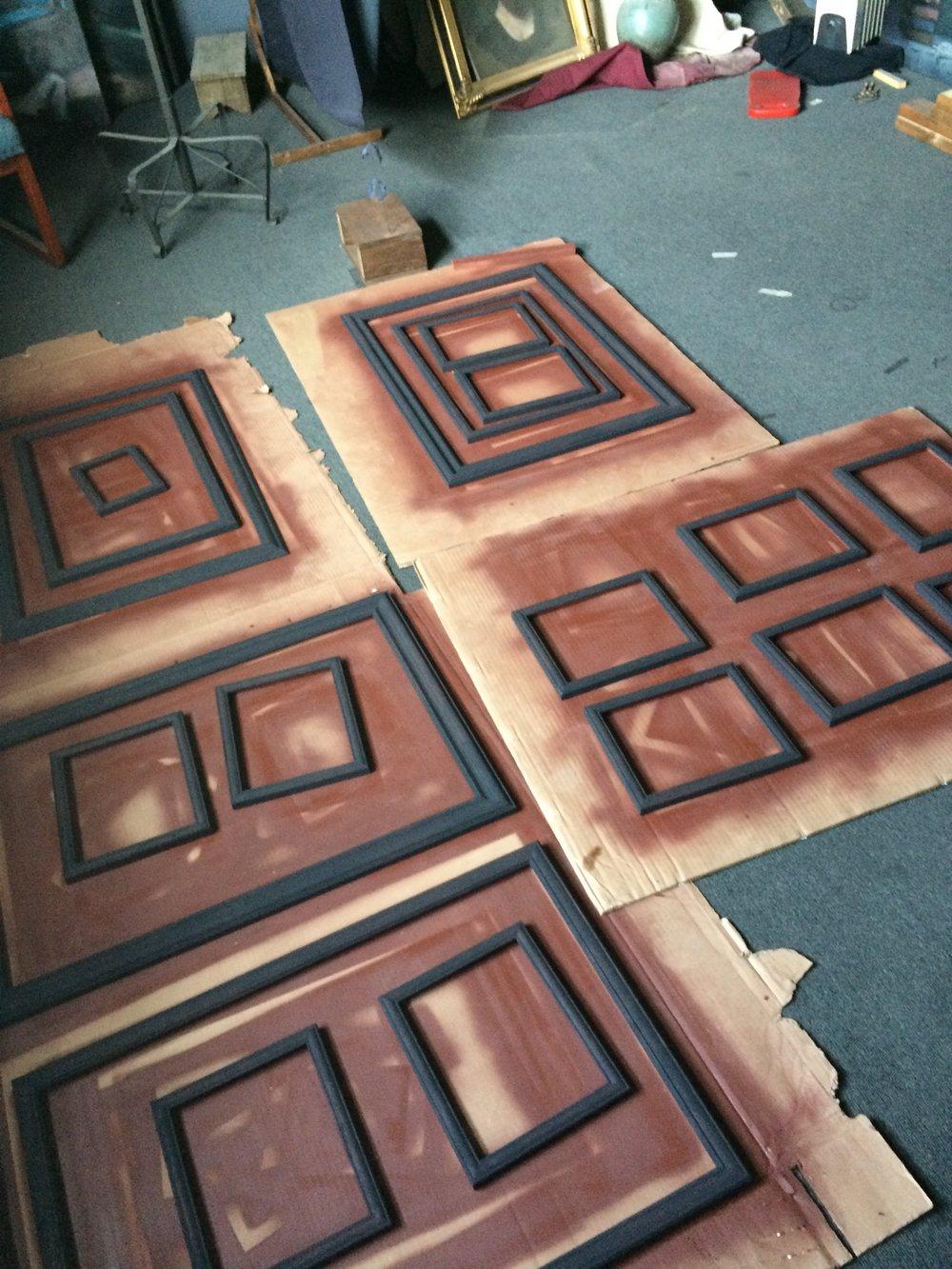 Spending hot summer days sanding and painting frames.