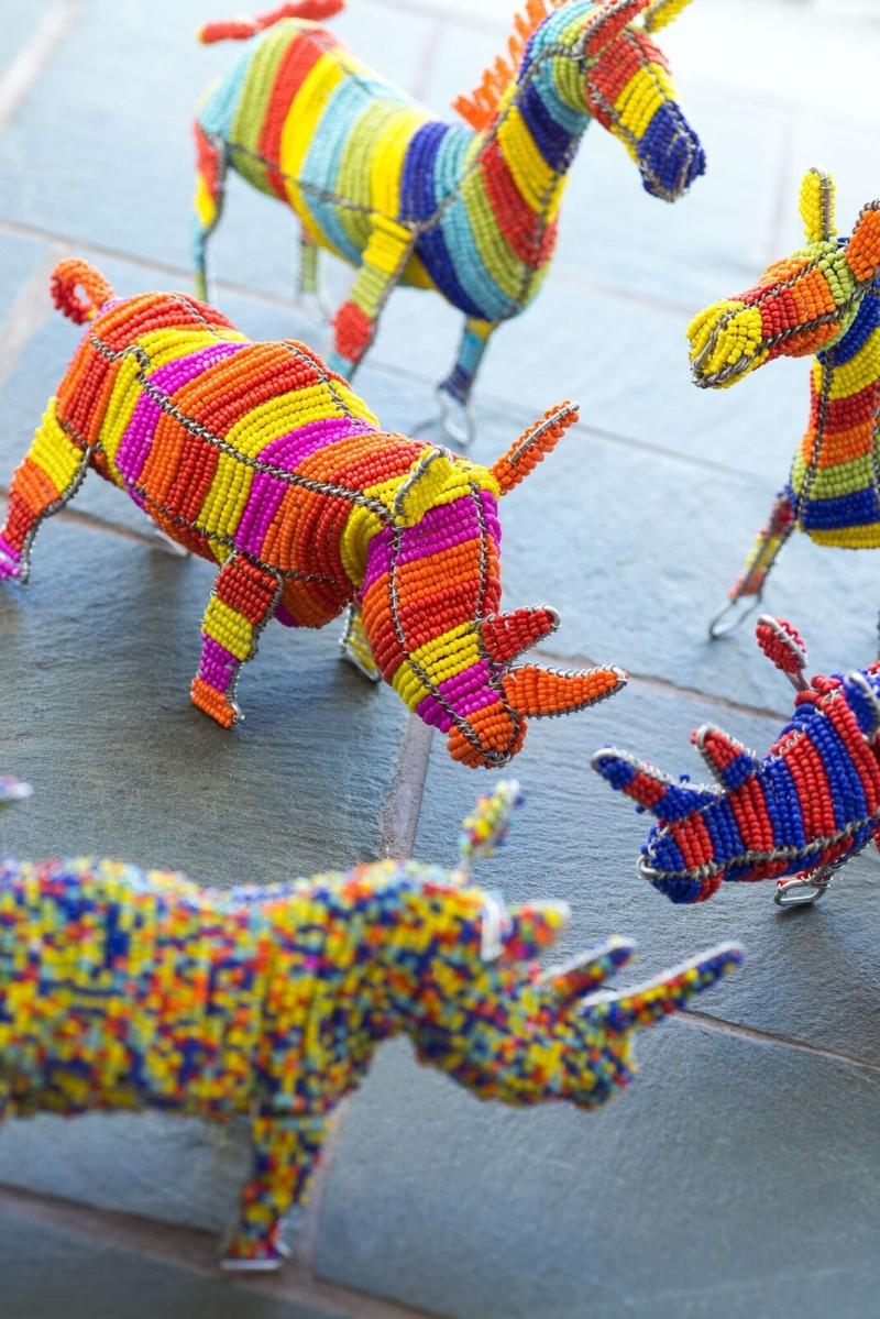 AN09 - Beaded multi colour Rhino + AN10 - Beaded multi colour Zebra