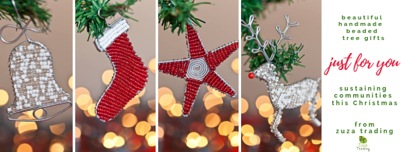 handmade beaded tree decorations