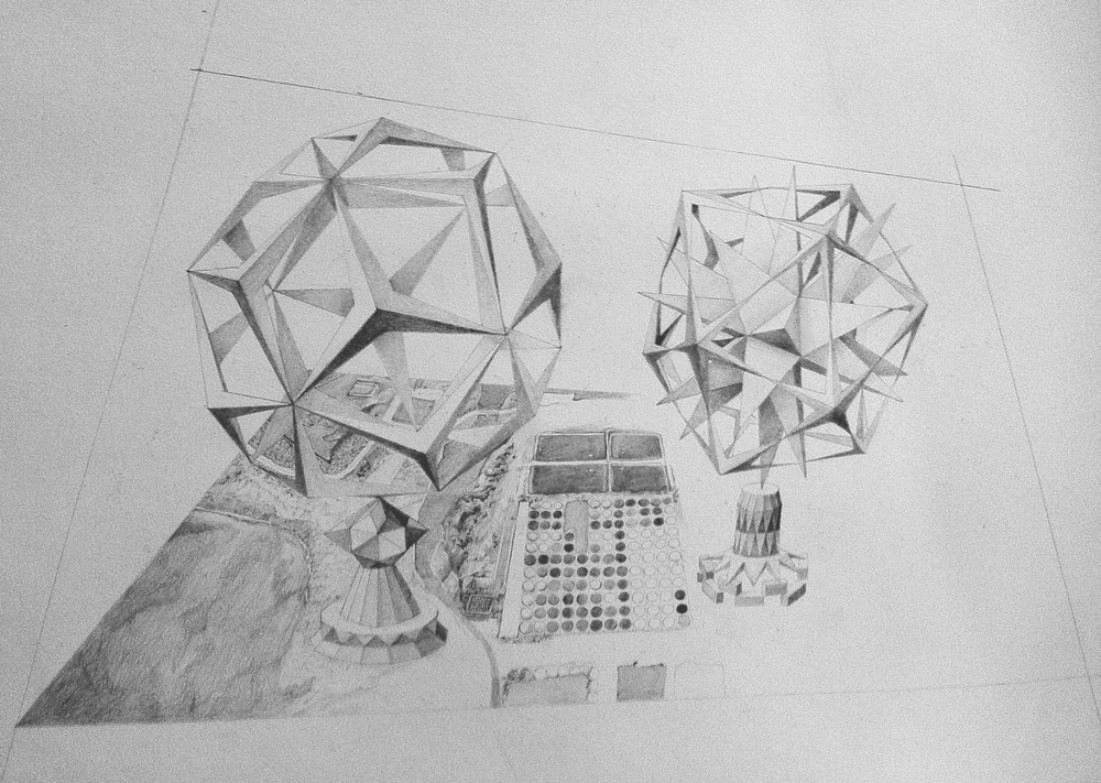 A pencil drawing featuring imaginary landscapes and Wenzel Jamnitzer's platonic solids.