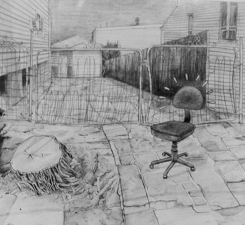Pencil drawing featuring an abandoned office chair.