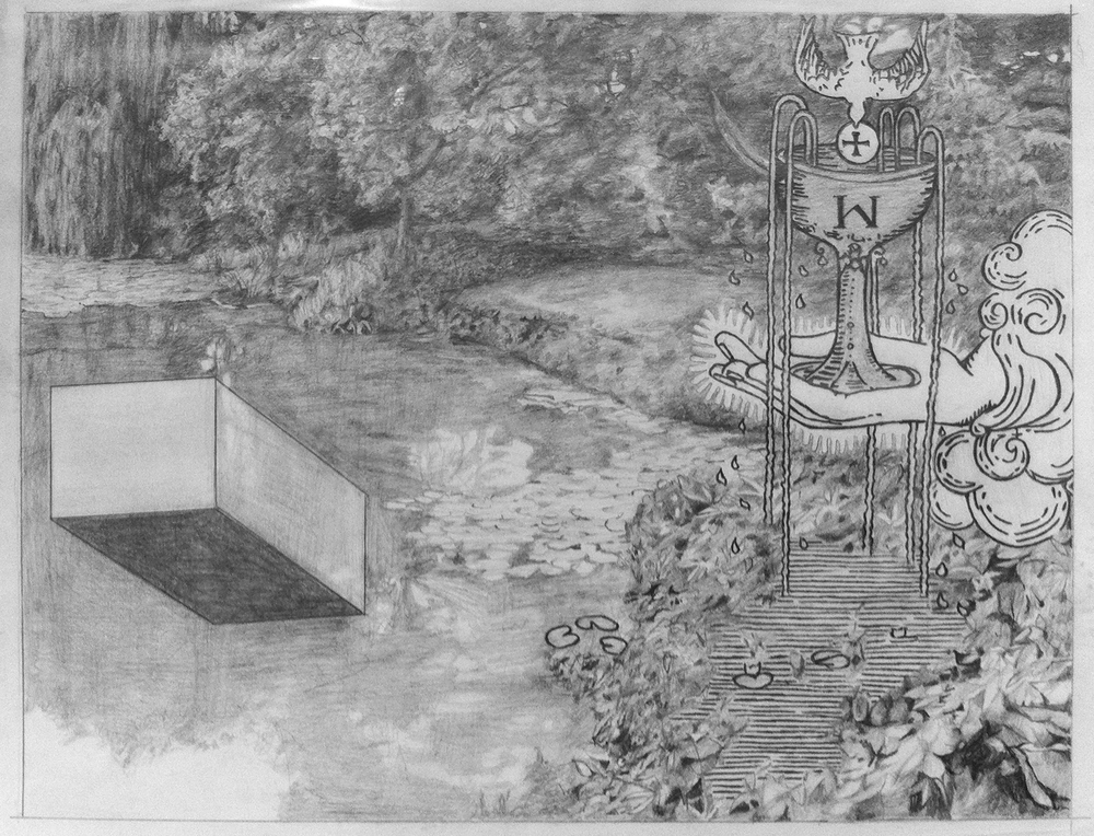 A pencil drawing featuring imaginary landscapes and tarot card imagery.