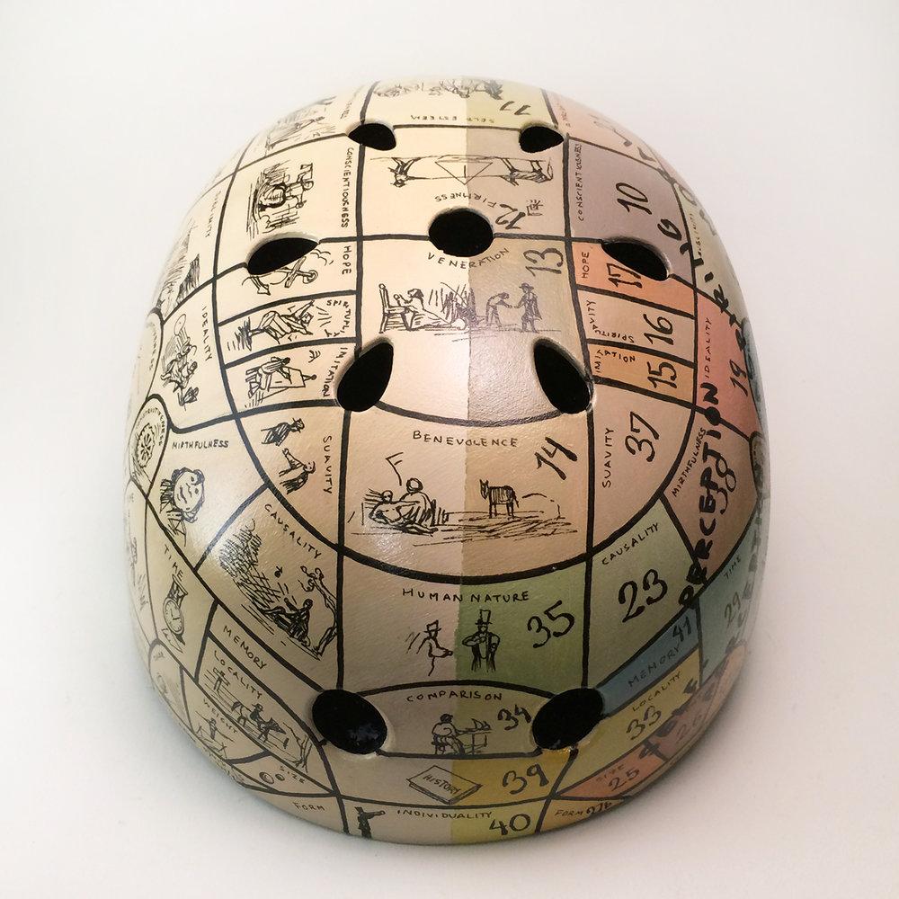 Phrenology chart helmets (via Inkwell Helmets)