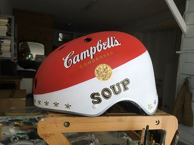 Know any good dinner recipes with a @campbells tomato soup helmet?  We made this one-of-a-kind auction item for this year's canned food drive for the AKF's support in the NYC Foodbank.  @canstructionny #campbellssoup  #canstruction