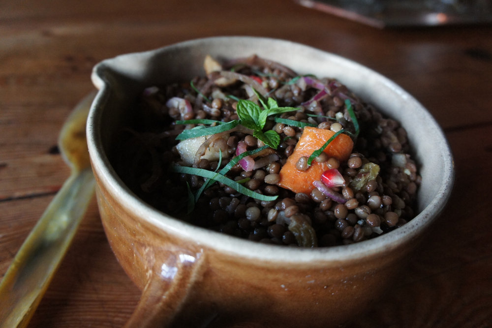 Cold vegan lentil salad
