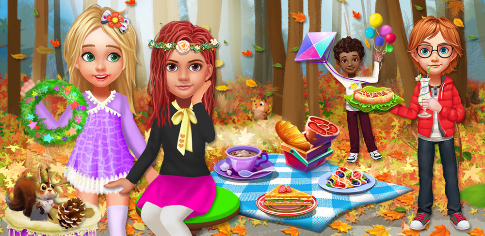 PLAY DATE - AUTUMN SCHOOL TRIP  It's time for a fun outing to the park in this combination design and dress up girls' game.
