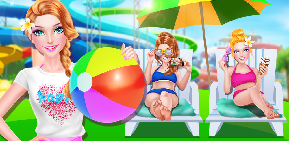 WATER PARK PARTY - SUMMER GIRL  Help the girl get ready for an awesome adventure at the water theme park. Start by giving her a makeover that celebrates the hottest season of the year. Try on lots of fun and bright colored makeup styles.