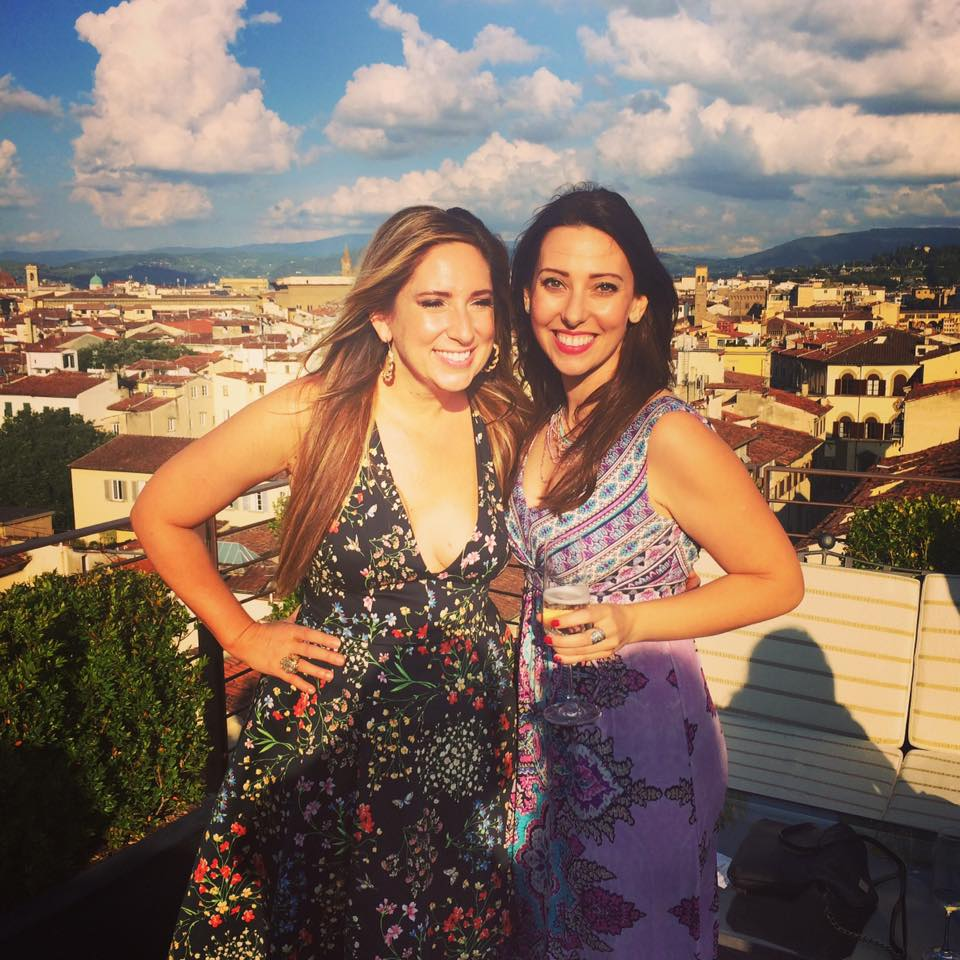 Louise celebrating with her mentor, Gina DeVee in Florence, June 2016
