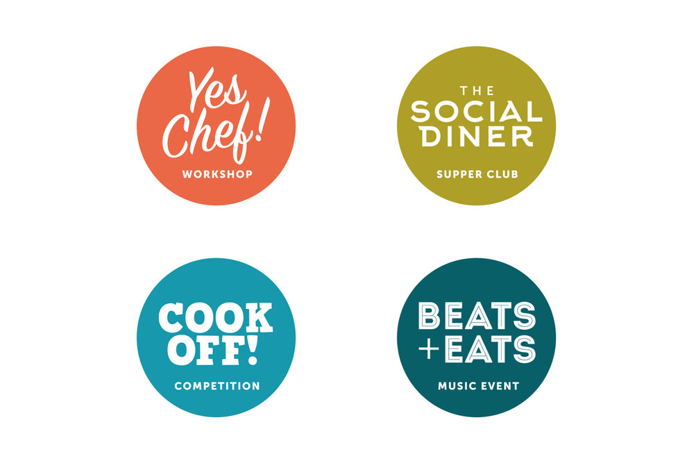 Beyond Food  Four logos to brand individual events as part of the overall branding for the social enterprise charity Beyond Food. For use online and print.