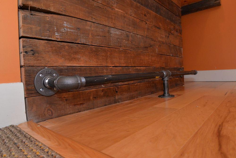 Steel gas pipe foot rail