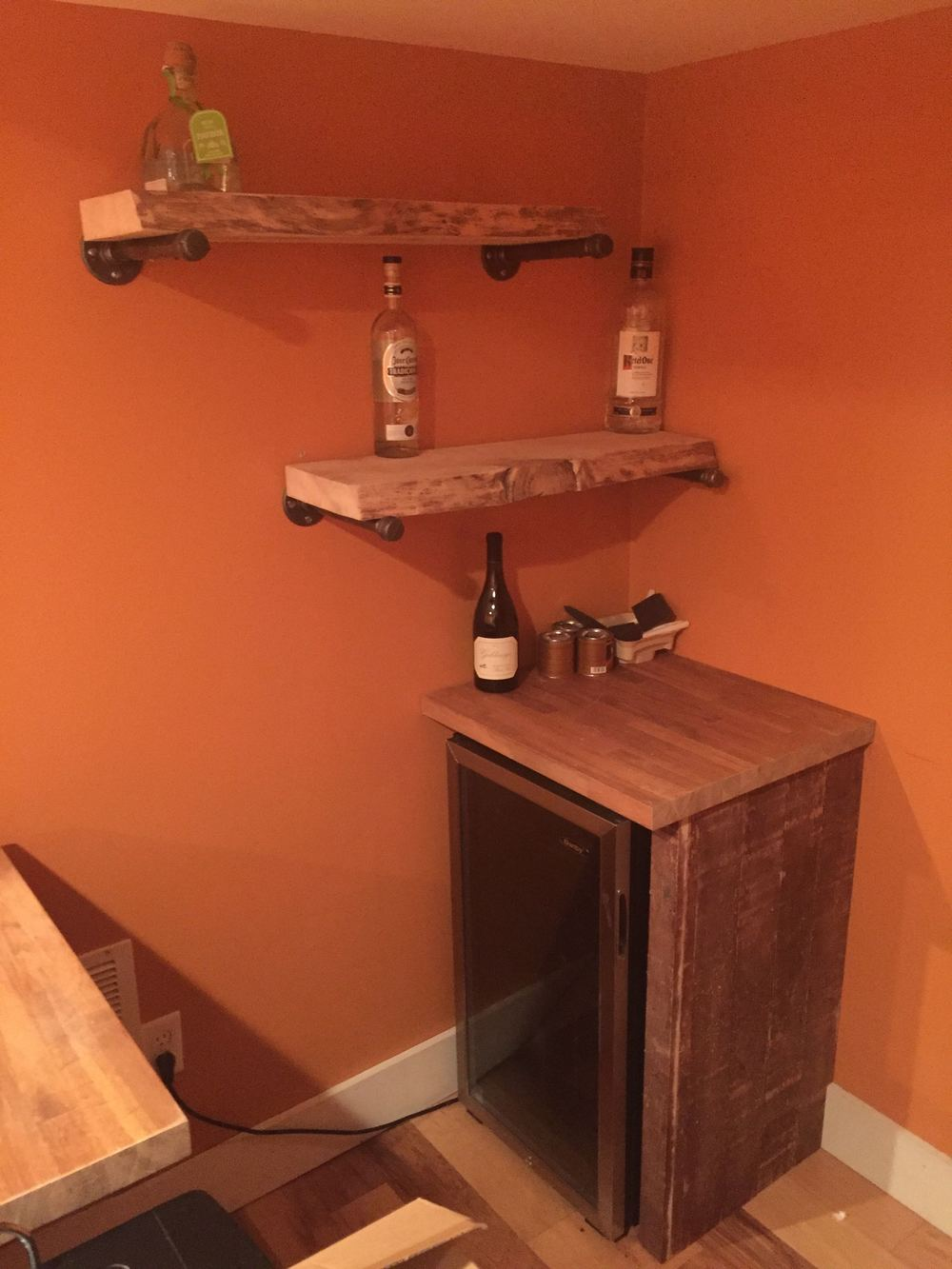 Remaining butcher block top and barn board for trim