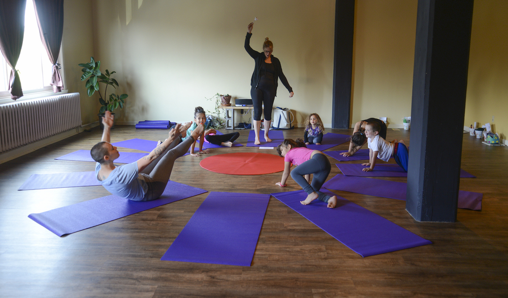 Kid's Vibe - Our Kid's Vibe class is a unique opportunity for kids (ages 3-9 currently) to have a play & learning based yoga class in one room, while adults enjoy a regular class on our schedule in our larger practice space. Julie is Childlight Yoga Certified & has over 30years experience designing & coordinating programming for children.
