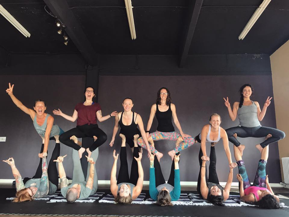 Acro Yoga - Acro Yoga is a physical practice that combines yoga, healing arts and acrobatics. We work in partners, groups & trios to lift each other up & play together to build trust, strength & flexibility. Acro Yoga classes are open to all levels! Acro Yoga