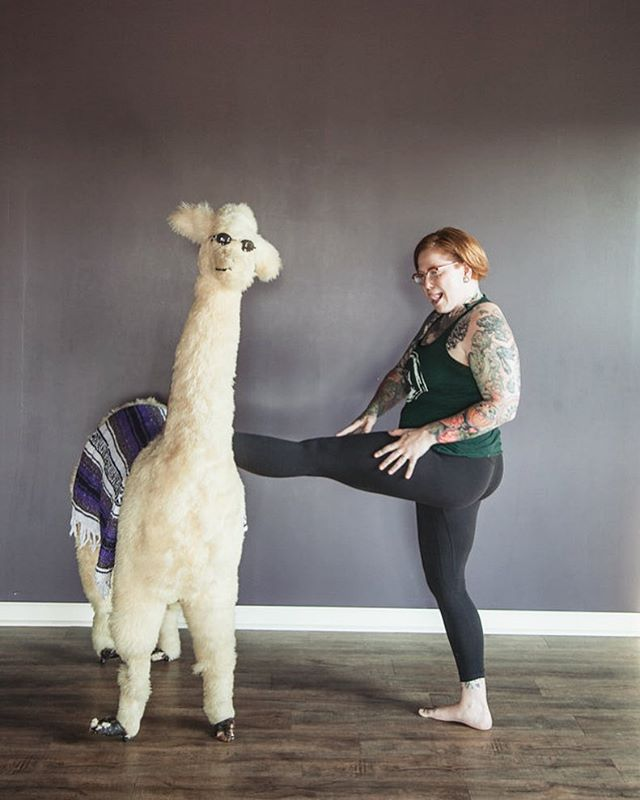 Come get a double dose of this goofball before they go on vacation! @goodwitchyoga is leading Monday 9:30am vinyasa flow AND 6pm #heavymetalyoga