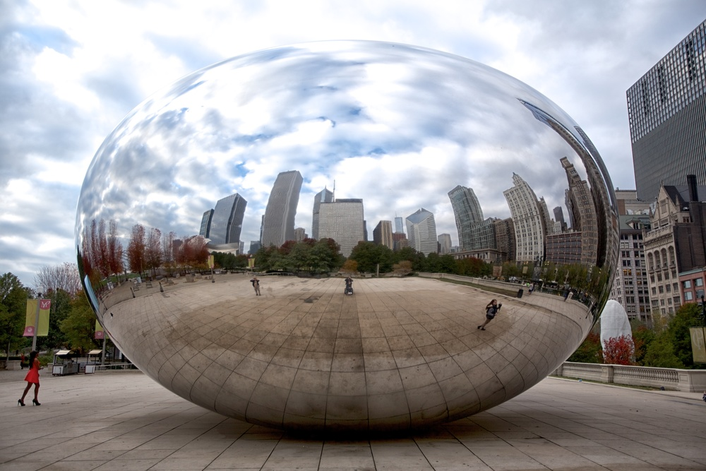 "Cloud Gate, commonly known as ""the Bean,"" is located in MILLENnIUM Park."