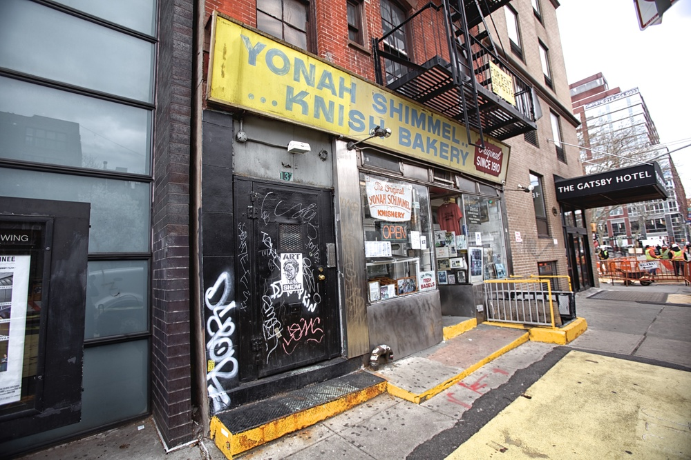 YONAH SCHIMMEL'S KNISH BAKERY (Notice the misspelling in the sign.)