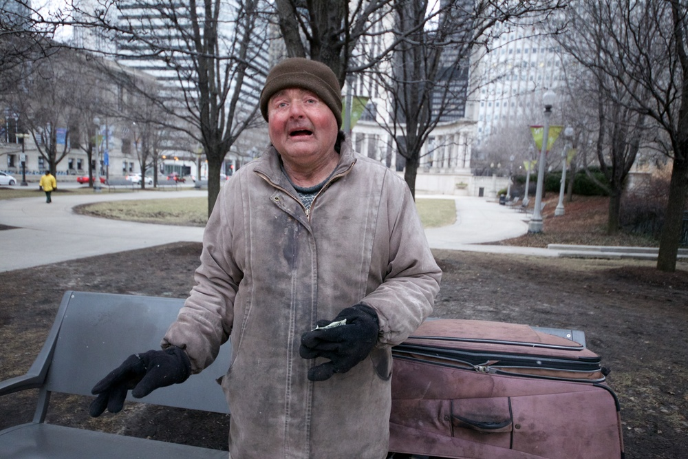Homeless man at Millennium Park