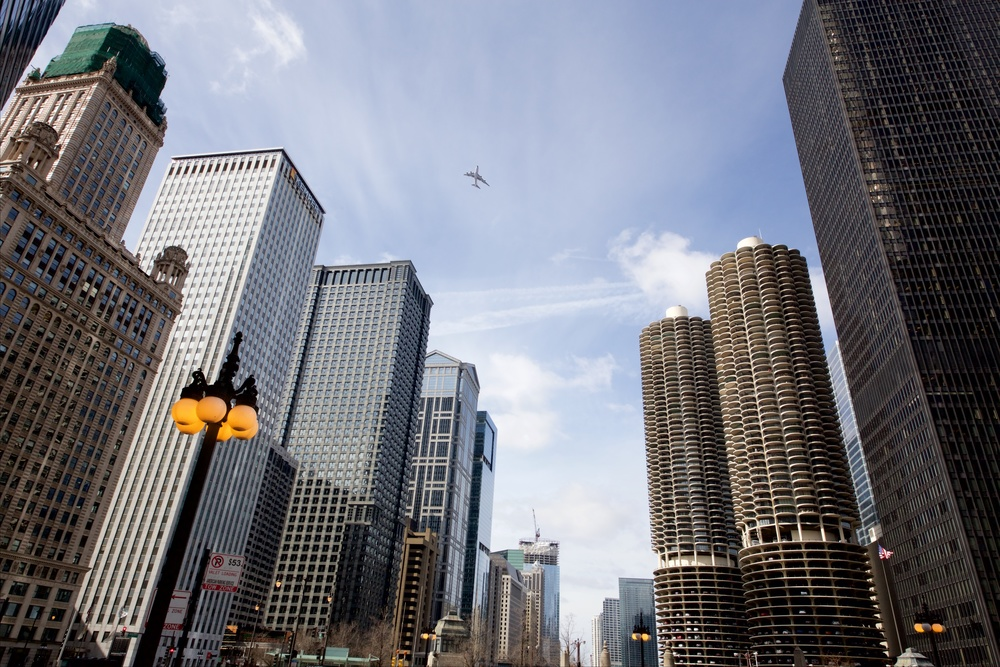 Airplane Flying Over Wacker Drive
