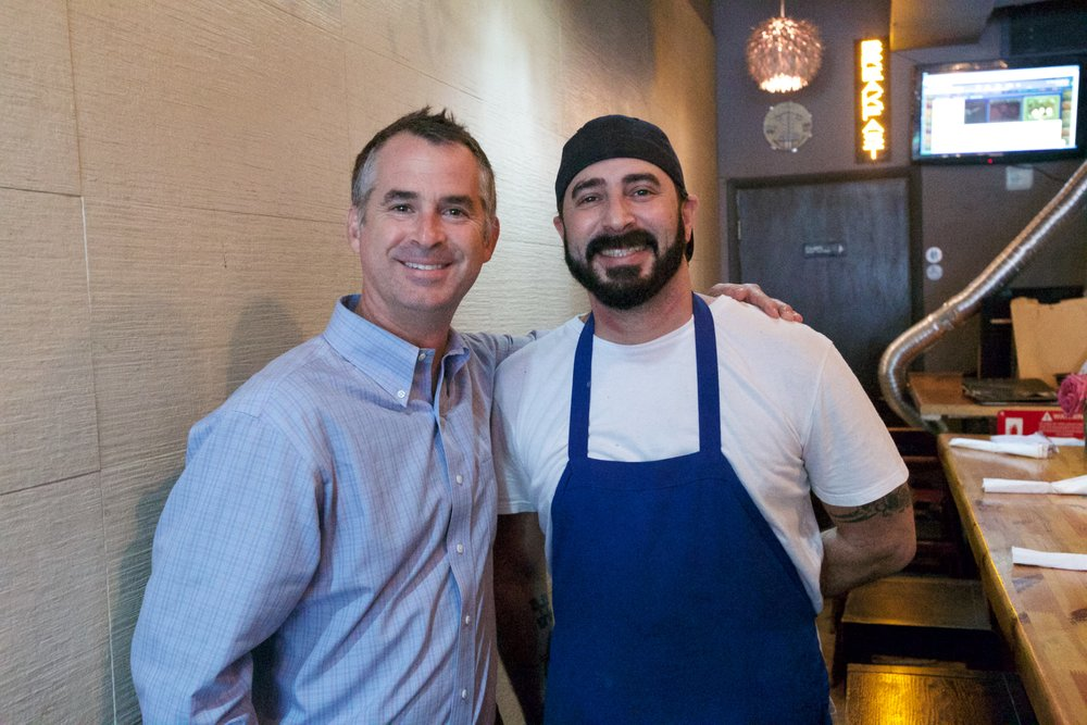 SURFSIDE MAYOR, DANIEL DIETCH, AND DELI OWNER/CHEF, JOSH MARCUS.